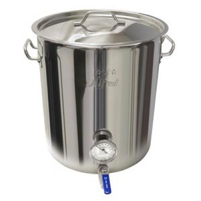 Marmite de brassage - 8 gallons - Fond triple - Valve et thermomètre
